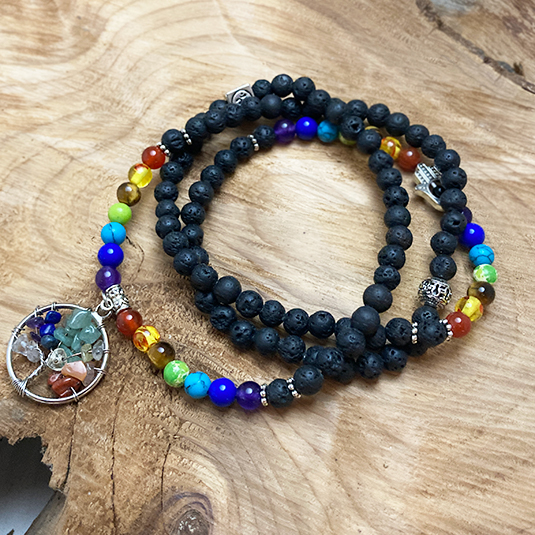 Buddha Barn 7 Chakra Prayer Beads Mala Bracelet