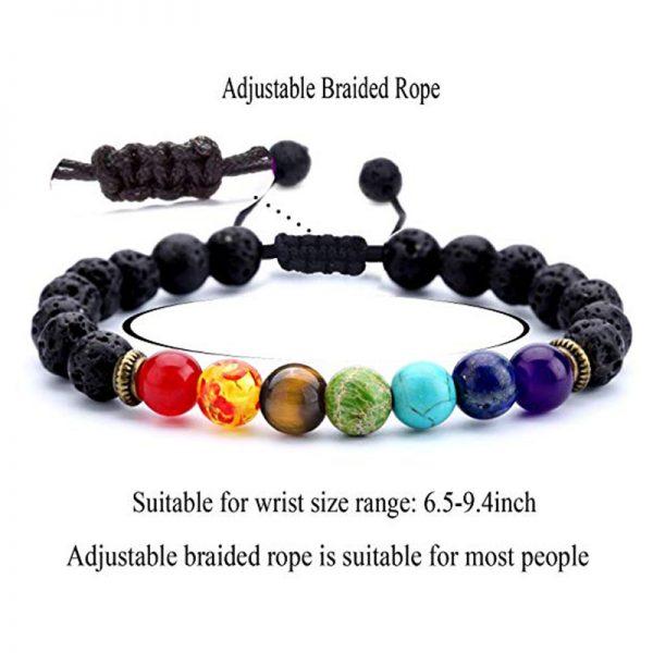 Buddha Barn 7 Chakra Lava Stone Adjustable Bracelet